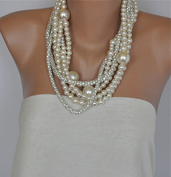 Pearl Necklace ,Bridal Bold Chunky Pearl Necklace,Brides Necklace