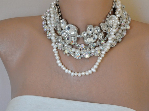 NEW Collection Bold Bridal Statement Rhinestone and Freshwater Pearls Necklace