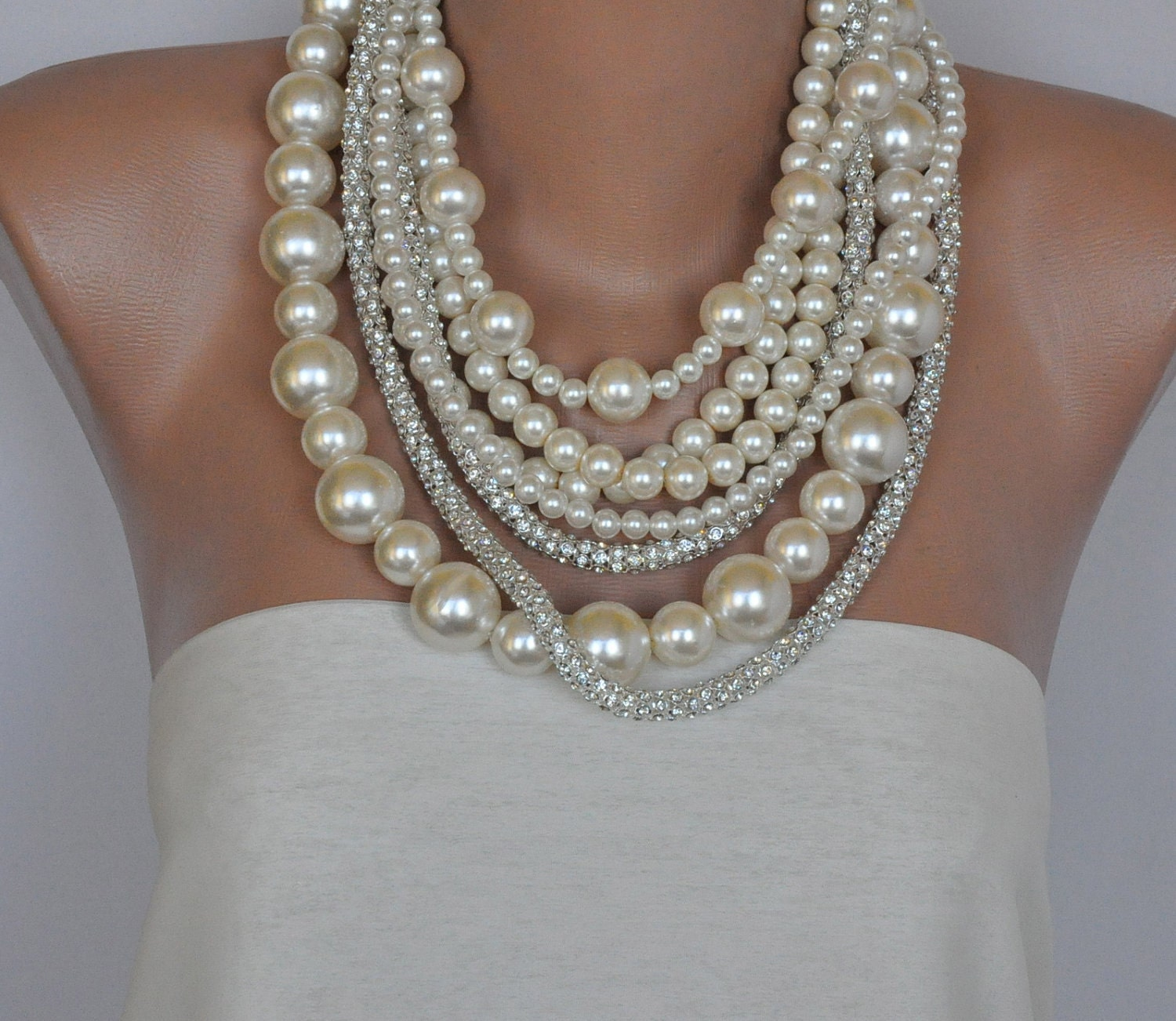 chunky pearl necklace bold layered ivory pearl necklace with