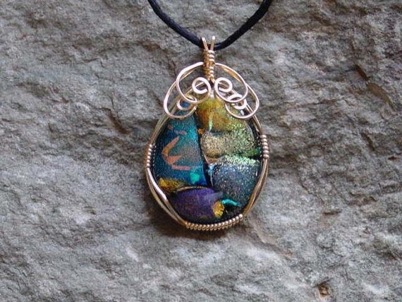 SALE. Rare Savoy Dichroic Glass. 14K Gold Filled Wire Wrapped Fused Dichroic Glass Pendant GN-26