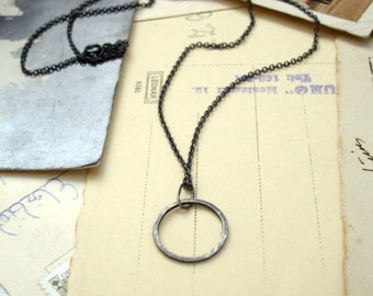 Traveled No.1: oxidized sterling silver hammered circle - necklace