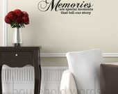 Vinyl Wall Decal Words Memories are special moments that tell our story  42 x 22 photo gallery wall display decals, family decor