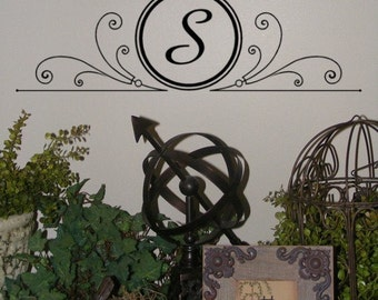 Custom Family Monogram Removable Vinyl Wall Decal for home decor or wedding Swirly Circle