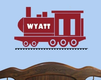 Custom self adhesive vinyl Name Wall Decal , Large Train Decal, Baby Boy Wall Decal, Locomotive Decor, Playroom Wall Decal, Boys Decals