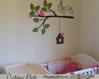 Modern Nursery Wall Decal, Gift for Baby girl, Modern Tree Decal, Baby Girl Nursery Wall Decor, Modern Decals, Personalized baby Gift, Birds