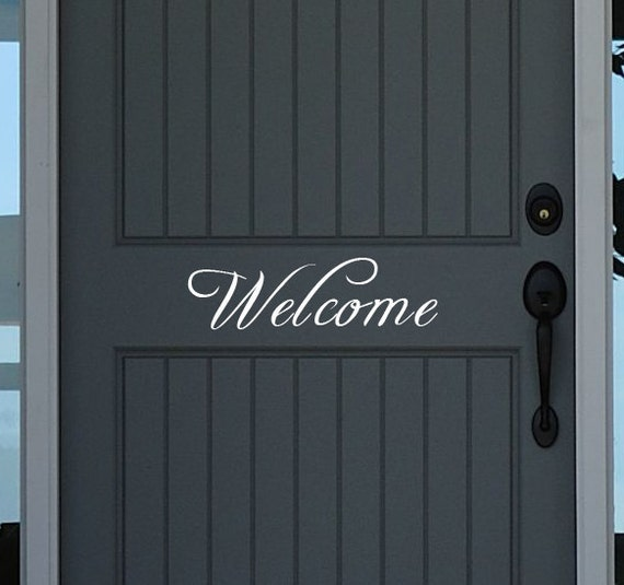"Welcome Door Decal - Door Decal - Front Porch Decal - Entryway Decal - Welcome wall decal - 13"" long X 4"" tall"
