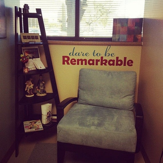 Items similar to Office Wall Decal, Dare to be Remarkable  ~ 170956_Etsy Dorm Room Ideas