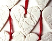 3 for 2- Set of 5 Valentines Ornaments Valentine gift Handmade Porcelain Decorations Red White Ceramic Heart Ornaments Vintage lace texture
