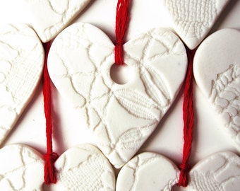 5 Christmas Ornaments White Handmade Christmas decorations Porcelain Hearts with Lace Texture and Red Thread Christmas Tree Decor