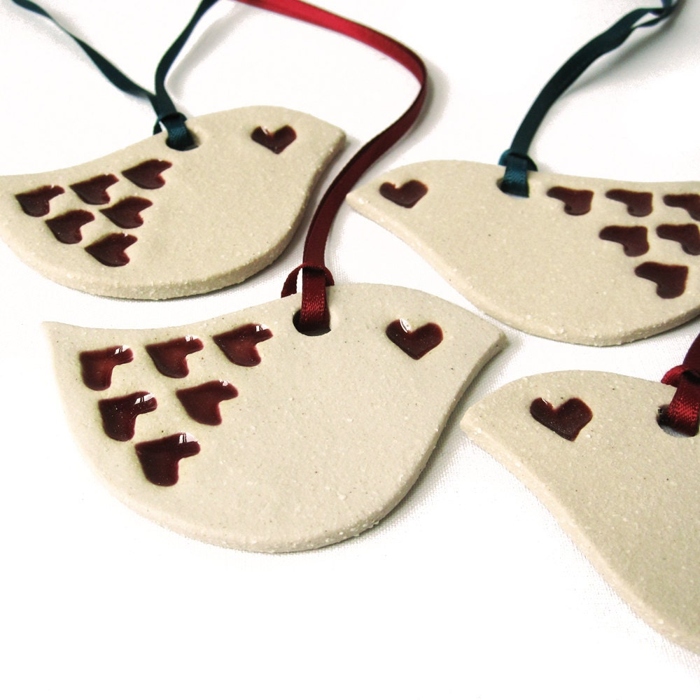 4 love bird christmas decorations in cream ceramic hand built. Black Bedroom Furniture Sets. Home Design Ideas