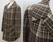 Vintage Coat 1970s Jacket Plaid Check Brown Pea Coat Devonshire Lady Size Large UK 16 US 12
