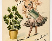 A Happy New Year Postcard - Woman Waters Four Leaf Clovers