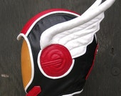 Aviator Hat in Black/ Red/ White Leather, The Swoop Hermes w/ Wings