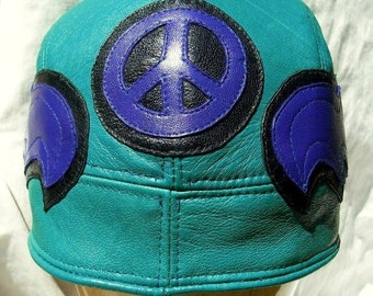 Leather Skullcap Doorag Headwrap Peace Sign and Flames  in Teal/ Purple
