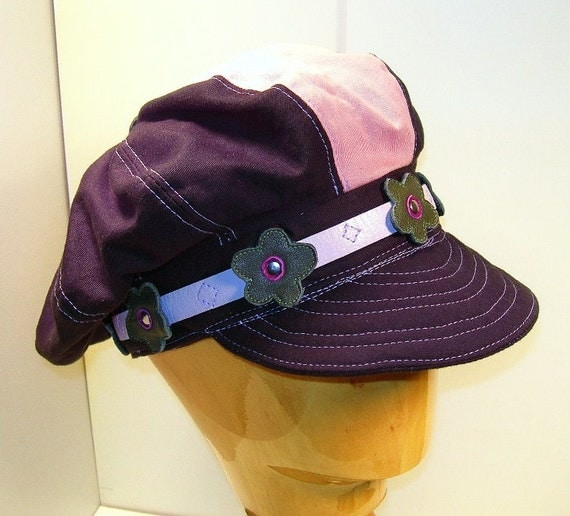 Pink/ Black Cotton Newsgirl Hat with Leather Flowers
