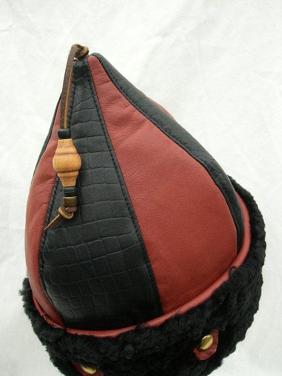 Medium Brown/ Black Leather MongolMation Pointy Hat with Sheepskin Brim