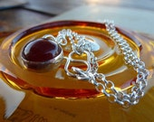 Carnelian necklace Sterling silver chain  Round Carnelian and silver pendant natural Carnelian gemstone