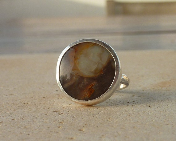 Petrified Wood Ring, Artisan Ring, Gemstone Ring, Sterling silver Ring,cocktail ring, Size 7