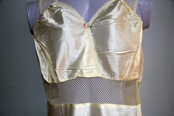 Vintage 1940s Nightgown Slip Cream Net Lace Rosette Art Deco Wedding Gown