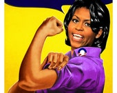 "Title: ""Recovery.gov"", Michelle Obama as Rosie the riveter. Signed 27x39 card stock offset lithograph"