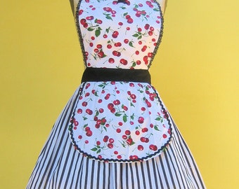 Retro apron Cherry print apron with black andwhite stripes hostess gift womens full apron that is vintage inspired