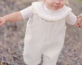 Ivory Formal Boys Suit, Boys Romper with Optional Monogrammed Shawl Collar for Ring Bearer or Christening, Boys Heirloom Suit