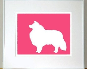 Sheltie Silhouette Print - 11x13 Fine Art Mod Dog Decor in your choice of color