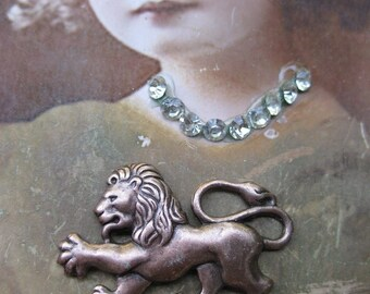 Copper Ox Plated Regal Lion Brass Stamping Charms 159COP x2