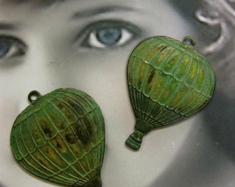 Hot Air Balloon Verdigris Patina Brass Charms 560VER x2