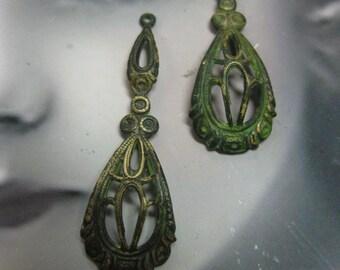 Verdigris Patina Brass Filigree Earring Dangles 489VER x2