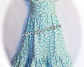 Emmaline's Dress  Light teal and Daisies 2T