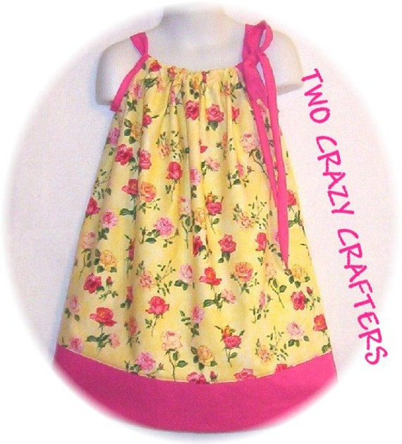 Pink and Yellow Rose Pillowcase Dress size 4T