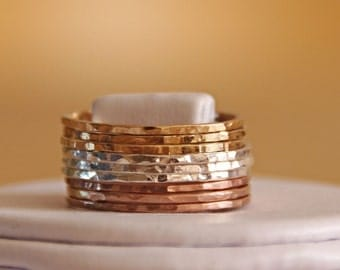 Mixed Metal Stacking set of 9 - Pink Gold, Yellow Gold and Sterling Silver - ultra thin gold stacking ring set