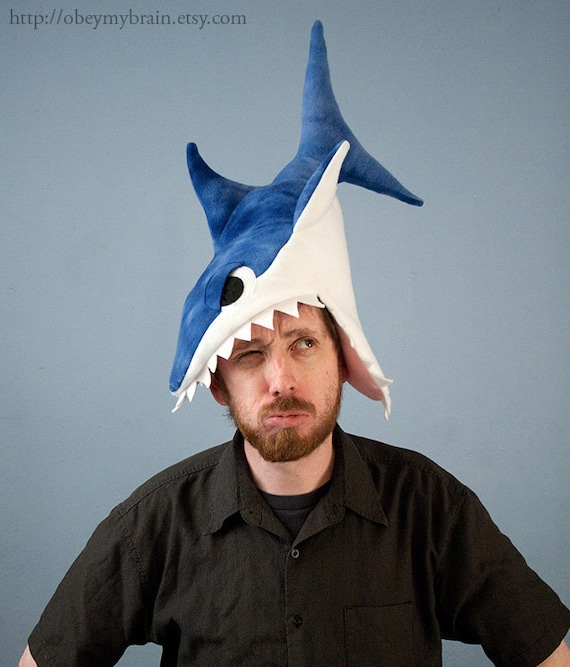 Fleece Shark Hat Blue Tie-Dye CHOMP CHOMP CHOMP