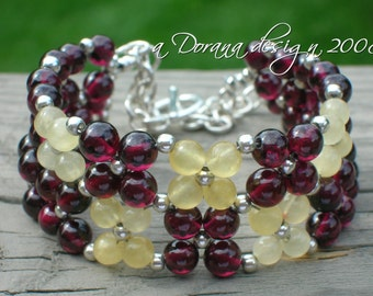 STRAWBERRIES AND CREAM Flower Weave Bracelet - Aragonite, Garnet and Sterling Silver Bracelet - Handmade by Dorana