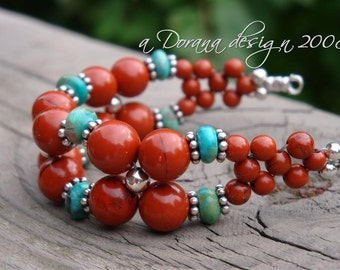 INDIAN SUMMER Flower Weave Bracelet - Genuine Turquoise, Red Jasper & Bali Sterling Silver, Rustic Barnyard Wedding  - Handmade by Dorana