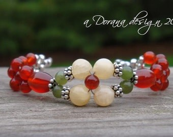 FLOWER CHILD Flower Weave Bracelet - Genuine Aragonite, Carnelian, Nephrite Jade in Bali Silver - Handmade by Dorana