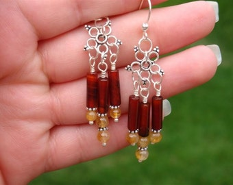 Flower Child Bali Chandelier Earrings - Genuine Citrine, Carnelian,and Bali Silver - Handmade by DORANA