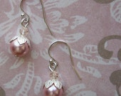 READY TO SHIP - Sterling Silver Viola Earrings - Pink Pearl - Bella Mia Beads