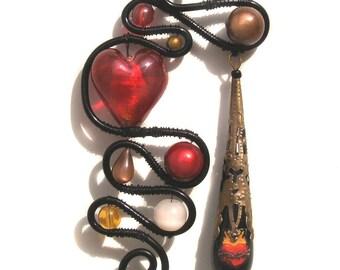SALE Sacred Heart Nouveau Wire Wrapped Pendant Flaming Red Black Art Nouveau Drop Tattoo Flash Statement Piece Bold Christ Curve Asymmetric