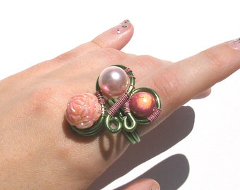 Art Nouveau Blush Ring (size 7) Pink Green Spring Summer Pale Flower Statement Piece Edwardian Curl Curve Shape Wire Wrapped Pastel Goth