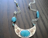 Turquoise, Sterling Silver and Brass Half Moon  Necklace, boho, southwestern, December's birthstone, recycled, eco friendly - ready to ship