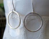 Small modern hammered sterling silver hoop earrings, geometric shape, little hoops, simple minimalist, rustic, boho, dangle, made to order