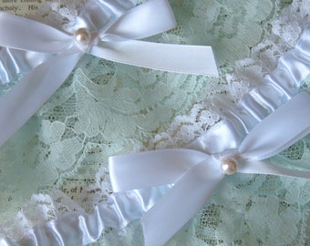 Sweet Nothings | Mint Lace Bridal Garter Set with White Satin Bow and Pearl, Handmade Wedding - Ready to Ship