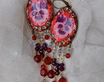 Lilygrace Purple Pansy Earrings with Amethyst, Garnets and Vintage Rhinestones