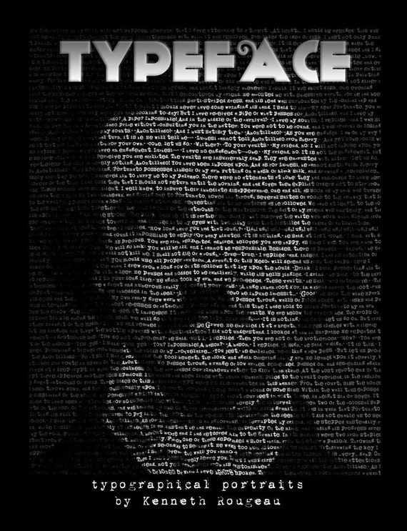 TypeFace - book includes over 140 text-based portraits of famous faces
