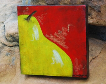 Delicious little PEAR original painting 6x6