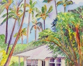 Tropical Waimea Cottage 8x10 print from Kauai Hawaii