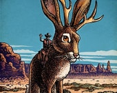 "Jackalope- 8"" x 10"" Whimsical portrait of mythological Jackalope creature"