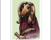 "J.K. Howling- 8"" x 10"" Art Print Portrait of J.K. Rowling as Dog"